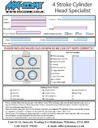 Cylinder head service request form